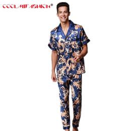 358833ce3f79 Mens Pajama Set Brand Pajamas Summer Men's Faux Silk pyjamas men Long Pant  Male Home Clothing Luxury Sexy Sleepwear Clothing