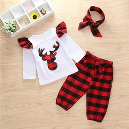 01d3789e2 2018 Newborn Baby Girls Clothing 3pcs Outfits Set T-shirt Tops +Red Plaid  Pants +Headband Toddler Infant Baby Girl Clothes Children Clothing