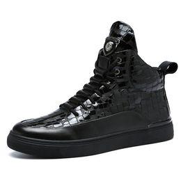 $enCountryForm.capitalKeyWord Australia - 2018 autumn new leather men's shoes brand trend fashion Martin boots men's high-top sports shoes crocodile pattern free shipping