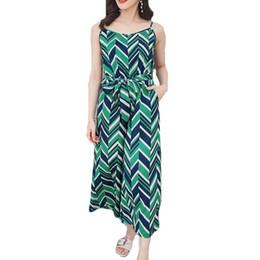 8ef02f91763e Rompers Womens Jumpsuit Summer Holiday Women Sleeveless Vest Green Striped  Print Jumpsuits Women Wide-Legged Chiffon Bodysuit