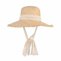 China Simple Fashion Women Summer Hats Large Raffia Straw Hat Lace Ribbon Lace-Up Beach Caps Fashion Ladies Panama Sun Hat supplier large brim summer hats suppliers