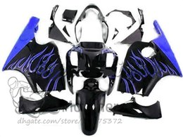 China Free gifts fairings body For KAWASAKI NINJA ZX12R 2000 2001 ZX 12R 00 01 fairing kits blue flaame black ZX-12R 00-01 free custom bodywork suppliers