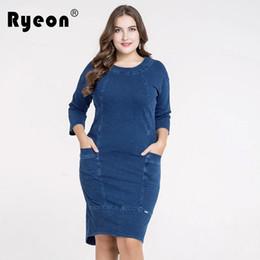 Ryeon Jeans Dress Big Size Bodycon Sexy Party Women Spring Autumn Vintage  Sheath Pocket Midi Denim Dress Plus Size 4xl 5xl 2018 5d24dbdef6c8