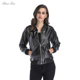 $enCountryForm.capitalKeyWord UK - Women Jacket Pu Leather Jackets Stand Collar Pockets Zipper Casual Jackets and Coats for Autumn Baseball Coat Streetwear C1607