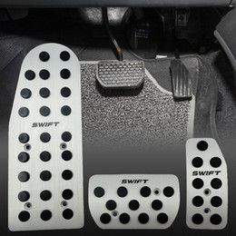 3pcs Car Auto Vehicle Non-slip Foot Pedal Treadle Cover Pad Aluminium For Suzuki SWIFT AT on Sale