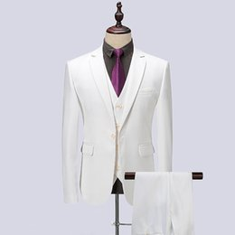 $enCountryForm.capitalKeyWord Canada - 2018 Men Suit White Black Navy Blue Wedding Suits Business Custom Made Groom Tuxedo Formal Blazer Slim Fit 3Piece Prom Bridegroom Best Man