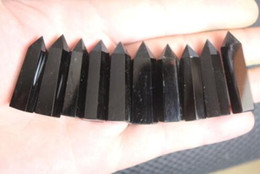 Chinese  (10pcs lot) 100% natural obsidian quartz crystal point Cheap wand (10pcs lot) 100% natural obsidian quartz crystal point wand manufacturers