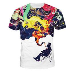 T Shirt Digital Printing Sport NZ - 2018 European and American fashion men's sports short tee star digital printing t - shirt men's short sleeve shirt round the men&#