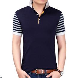 $enCountryForm.capitalKeyWord Australia - BROWON Korean Style Summer New Fashion Men T-shirt Striped Short Sleeve Turn-down Collar Patchwork Design Men Clothing 2018