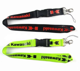 Discount free gift kawasaki - Wholesale motorcycle brand Kawasaki Removable Key Chains Badge Pendant Party Gift moble phone lanyard 20pcs free shippin