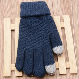 touch screen wrist Australia - Fashion 1 Pair Unisex Winter Warm Touch Screen Gloves Knit Mittens 4 Colors Free Size S1025