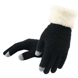 Finger Mitten Gloves UK - Knitted Gloves Touch Screen Women Thicken Winter Warm Gloves Female Full Finger Soft Stretch Knit Mittens Guantes