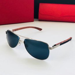 3ae124d83b875 Luxury 8200811 Sunglasses Oval Frame Metal Popular UV Protection Men Brand Designer  Sunglasses Wooden Vintage Retro Style Come With Case