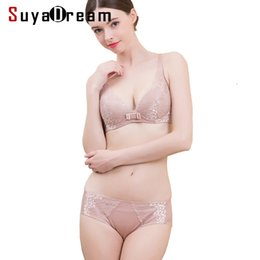 9649128a96 Women bra set 100%Natural Silk Lining and Lace Wire Free Bras Everyday  lingerie set 2018 New Black Beige