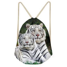 Cool Small Backpacks UK - Noisydesigns Cool Animal 3D Tiger Printed Men's Small Drawstring Bag Travel Men Backpack String Shoes Bags Storage Shoulder Bags