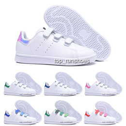 Bike Hooks Australia - Kid Children Baby Girl Love Sneakers For Boys girls Kawakubo Hook & Loop Pink Red Multi White Samba Stan Smith Cycling Shoes Size22-35