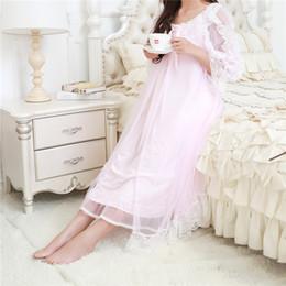 $enCountryForm.capitalKeyWord NZ - Autumn Robe Chemise Nightgowns Sleepshirts Lace Patchwork Sleepwear Indoor Clothing Sexy Night wear Soft Nightdress #H31