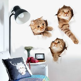 Decorative kitchen wall stickers online shopping - New Arrival Cat Vivid D Hole Wall Sticker Bathroom Toilet Decorations Kids Gift Kitchen Cute Home Decor Mural Animal Wall Poster