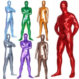 $enCountryForm.capitalKeyWord Australia - Unisex Shiny Metallic Zentai Skin Tight Full Body Suit Solid Color Wetlook Spandex Lycra Unitard Costume Halloween Fancy Dress