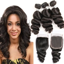 Human Hair Brazilian Loose Curly Australia - Brazilian Virgin Hair Extensions 3 Bundles With 4X4 Lace Closure 4 Pieces lot Loose Wave Curly Human Hair Wefts With Closure Middle Three