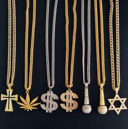 Necklaces Pendants Australia - Gold Chains For Men Necklace wholesale Fashion Metal Microphone Cross Pendant Necklace Statement Punk Necklaces Hip hop Jewelry