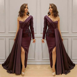 Arabic Prom Dresses Canada - Burgundy Lace Stain One Shoulder Mermaid Split Evening Dresses 2018 Dubai Arabic Long Sleeve Over Skirt Sexy Occasion Prom Party Dress