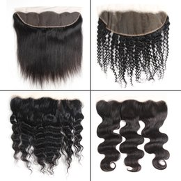 lace frontal pieces Australia - Brazilian Virgin Human Hair 13x4 Lace Frontal Closure Peruvian Malaysian Indian Body Wave Straight Water Deep Kinky Curly Closures Frontal