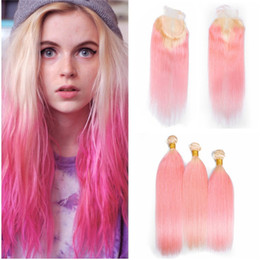 $enCountryForm.capitalKeyWord NZ - Blonde Pink Straight Hair With Lace Closure New Fashion Color Blonde Pink Two Tone Hair Weaves With Lace Closure 4Pcs Lot
