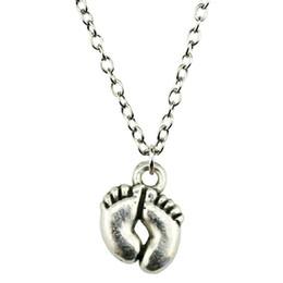Necklaces Pendants Australia - WYSIWYG 5 Pieces Metal Chain Necklaces Pendants Male Necklace Fashion Cute Feet 13x10mm N2-B10215
