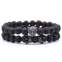 Wholesale Leopard head punk yoga Bracelet Pave CZ Crown ball Black lava Stone Bead Bracelet for Men Women Luxury Jewelry gift dropshipping