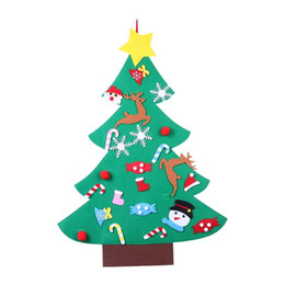 free christmas gifts for children UK - Kids DIY Felt Christmas Tree Wall Hanging Ornaments Christmas Decoration for Home Children Xmas Gift Supplies free shipping hot sale new