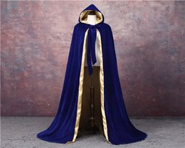 Nylon Coating Australia - Velvet Hooded Cloak Wedding Cape Halloween Wicca Robe Wicca Robe Coat S-6XL Christmas Medieval Velvet Hooded Cloak Wicca Witchcraft