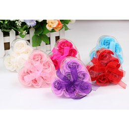$enCountryForm.capitalKeyWord NZ - High Quality Mix Colors Heart-Shaped Rose Soap Flower For Romantic Bath Soap And Gift hand made 100% natural material