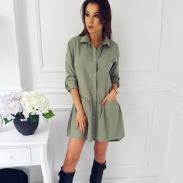 $enCountryForm.capitalKeyWord NZ - Smellpoet 2018 spring new fashion women's shirt dress casual long sleeve office dresses Draped Pockets Vestidos Plus Size