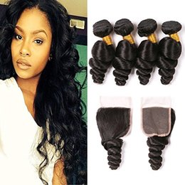 Hair Straightening Products Wholesale NZ - Loose Wave Brazilian Human Hair Bundles with Closure Brazilian Virgin Hair Extensions Can Be Straightened and Curled Loose Wave Hair Product