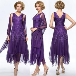 19027298d91 Elegant Purple Chiffon Tea Length Mother Of The Bride Groom Dresses with  Wrap Plus size V-neck Hollow Back Evening Gowns