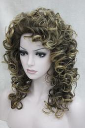 Loose Curls Long Hair Australia - Fashion brown mix golden blonde tip loose curls 50cm long synthetic hair wig