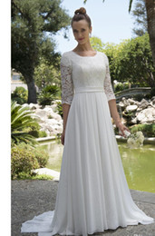 informal lace wedding dresses NZ - Informal Lace Chiffon Modest Beachboho wedding dresses With 3 4 Sleeves Scoop Neck Reception Bridal Gowns Mature Bride Elegant New