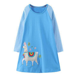 China Unicorn Appliqued Girl Party Dress Tunic Long Sleeve Baby Girl Clothes Kids Jersey Dress Princess Clothes for Children Clothing supplier jerseys clothing suppliers
