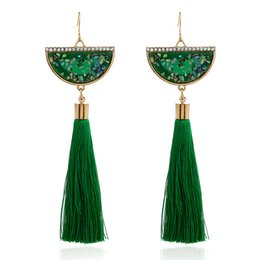 $enCountryForm.capitalKeyWord Canada - Ethnic Vintage Green Long Tassel Drop Earrings Maxi Silk Thread Vintage Purple Red Sector Crystal Earrings For Women Fashion Jewelry Gift