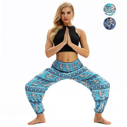 Yoga Pants Bloomers Fitness NZ - Summer Yoga Pants Tights Women Elephant Printed Bloomers Pocket Fitness Clothing Training High Waist Pants Female Dance Trousers