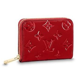 Cotton Key Australia - M90202 ZIPPY COIN PURSE Patent leather red Real Caviar Lambskin Chain Flap Bag LONG CHAIN WALLETS KEY CARD HOLDERS PURSE CLUTCHES EVENING
