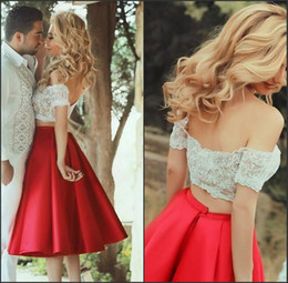 $enCountryForm.capitalKeyWord NZ - Sweetheart Off The Shoulder Bright Red And White Two Piece Homecoming Dresses Color Block Short Prom Dress vestido curto para festa