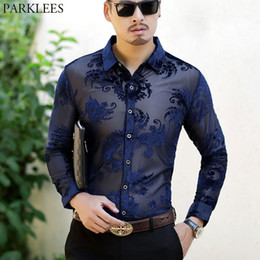 Camicie da uomo trasparenti con maniche lunghe a maniche lunghe in pizzo chemise con ricamo a vista Camicia in Offerta