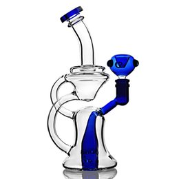 stereo pipe UK - Two Function Recycle Oil Rigs Water Pipes Thick Glass Bongs With Double Stereo Matrix Perc blue Beaker Base Bongs