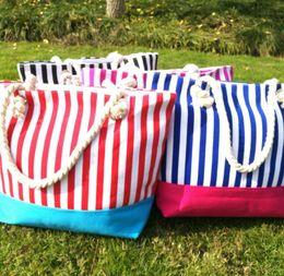 Discount stripe canvas tote beach bags - Women Striped Canvas bag Shopper Big Capacity Shoulder Bag Colorful Stripes Beach Bags Totes outdoor bag KKA4157