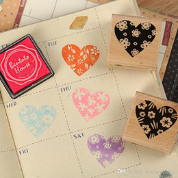 $enCountryForm.capitalKeyWord Canada - Free shipping 4pcs set heart wooden rubber stamp for Kids DIY Handmade Scrapbook Photo Album students Stamps Arts,Crafts gifts