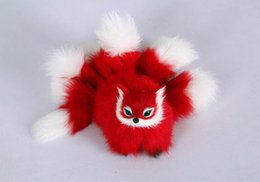 Fur Craft UK - plastic&fur red fox with nine tails hard model about 18x10cm fox stage prop craft home decoration toy gift w0158
