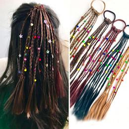 Wholesale Braided Lace Wigs NZ - 2pc Fashion Children Wig Braids Multi-color Mini Clip Kids Elastics Hair Bands Girl Cute Hair Accessories Korean Style Hair Rope