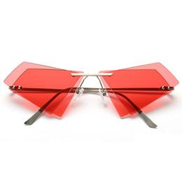Unique Sunglasses Brands Australia - Small Unique Irregular Frameless Sunglasses Women Men Brand Double Lens Sun Glasses Female Eyeglasses Frame Eyewear